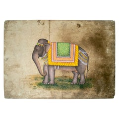 1970s Indian Paper Drawing of an Elephant