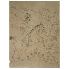 1970s Indian Paper Drawing of Horse Rider Hunting a Tiger with Spear