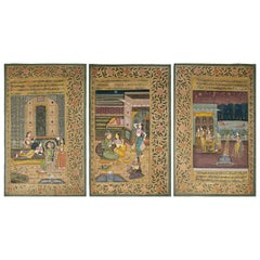 1970s Indian Set of Three Colorful Drawings of the Royal Court
