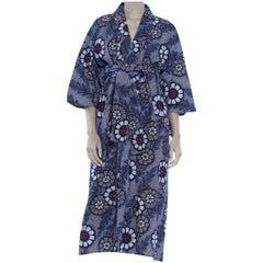 1970S Indigo Blue Japanese Shibori Print Cotton Kimono With Sash Belt