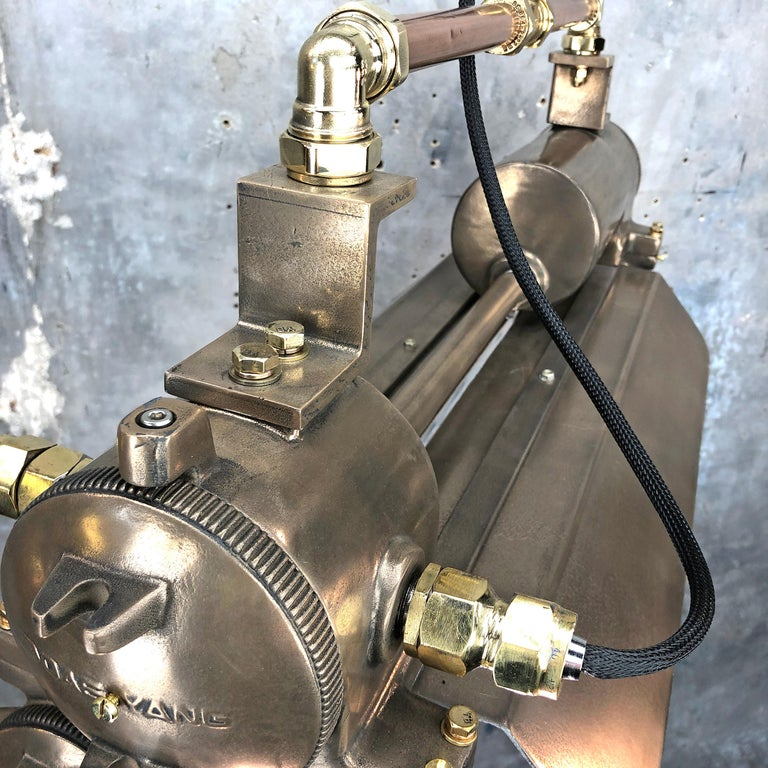 1970s Industrial Bronze, Polished Brass & Glass Flameproof Tube Light with Shade For Sale 3
