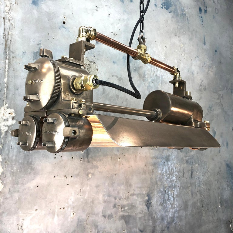 1970s Industrial Bronze, Polished Brass & Glass Flameproof Tube Light with Shade For Sale 5