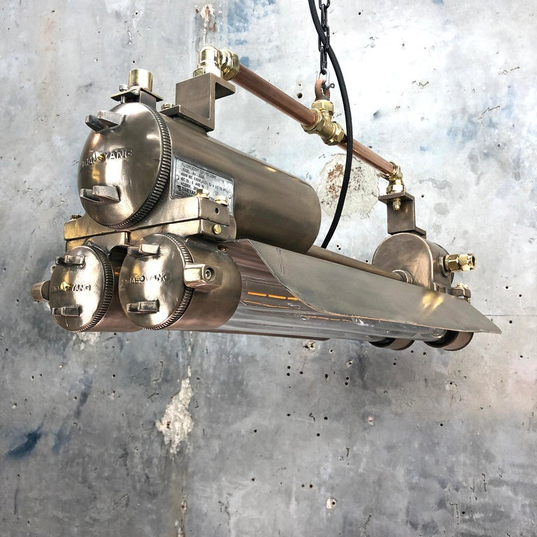 1970s Industrial Bronze, Polished Brass & Glass Flameproof Tube Light with Shade For Sale 8