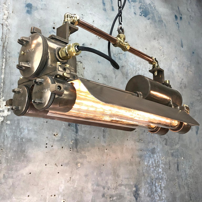 1970s Industrial Bronze, Polished Brass & Glass Flameproof Tube Light with Shade For Sale 10