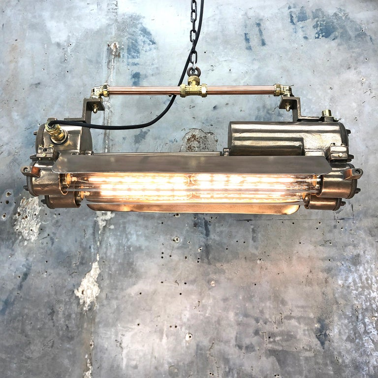 1970s Industrial Bronze, Polished Brass & Glass Flameproof Tube Light with Shade For Sale 11