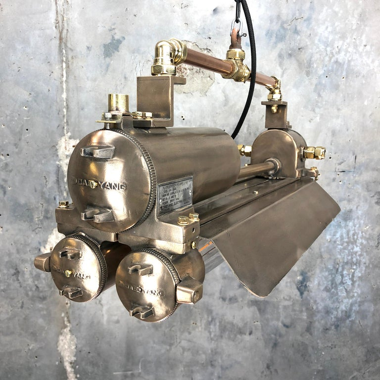 Korean 1970s Industrial Bronze, Polished Brass & Glass Flameproof Tube Light with Shade For Sale