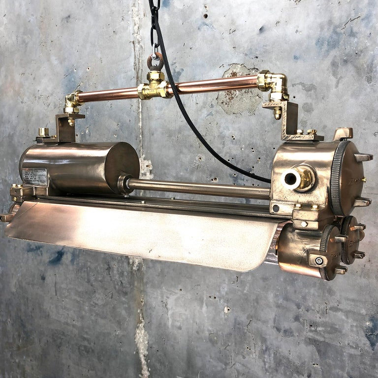 Cast 1970s Industrial Bronze, Polished Brass & Glass Flameproof Tube Light with Shade For Sale