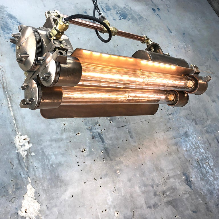 1970s Industrial Bronze, Polished Brass & Glass Flameproof Tube Light with Shade In Good Condition For Sale In Leicester, Leicestershire