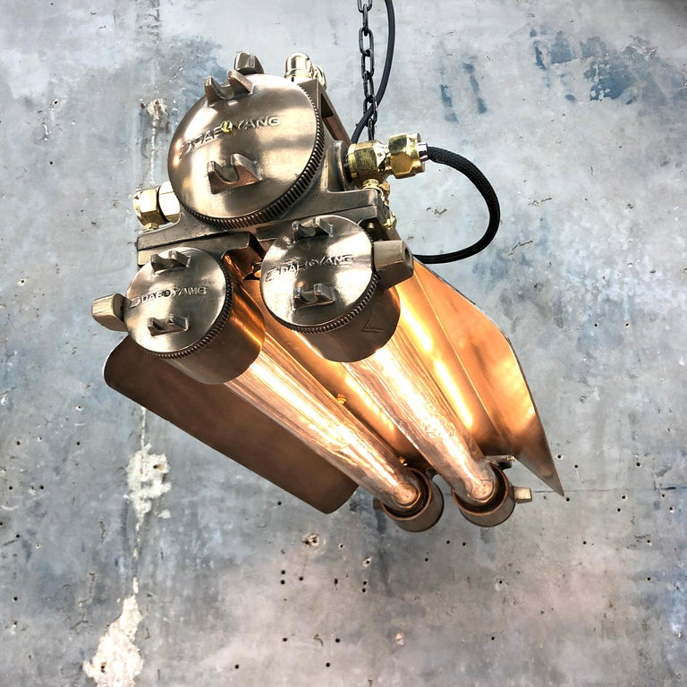Late 20th Century 1970s Industrial Bronze, Polished Brass & Glass Flameproof Tube Light with Shade For Sale