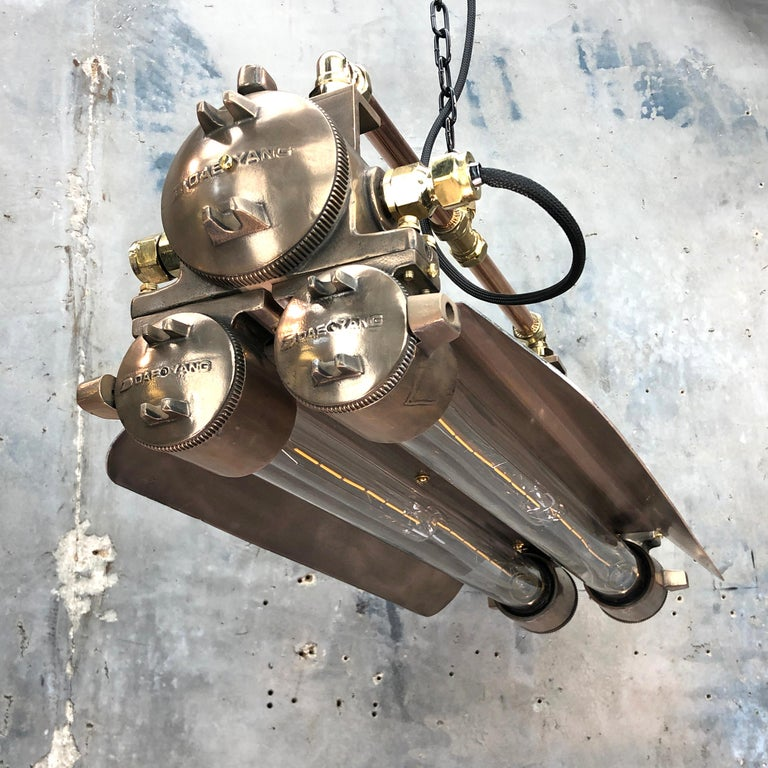 1970s Industrial Bronze, Polished Brass & Glass Flameproof Tube Light with Shade For Sale 1