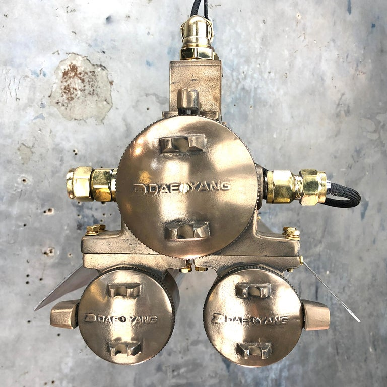 1970s Industrial Bronze, Polished Brass & Glass Flameproof Tube Light with Shade For Sale 2