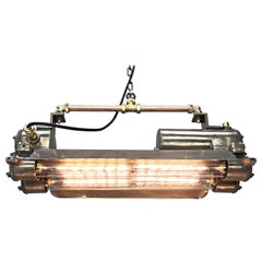 1970s Industrial Bronze, Polished Brass & Glass Flameproof Tube Light with Shade