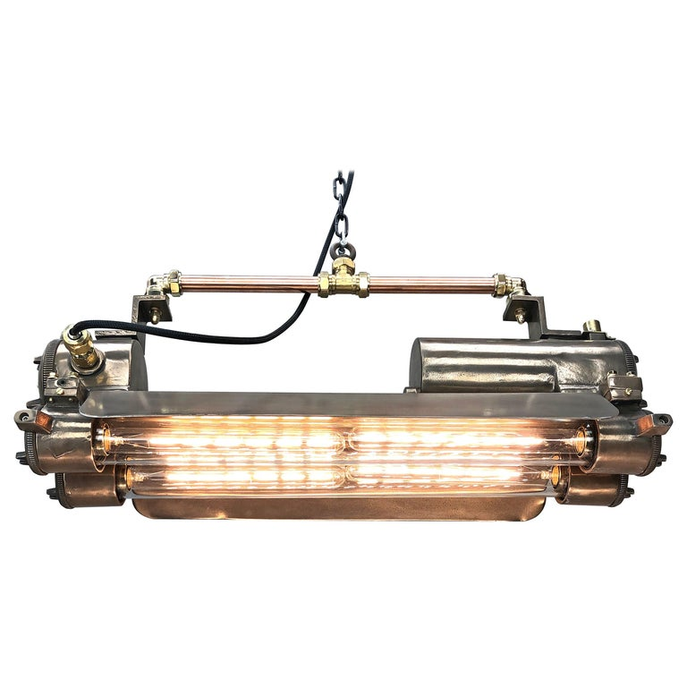 1970s Industrial Bronze, Polished Brass & Glass Flameproof Tube Light with Shade For Sale