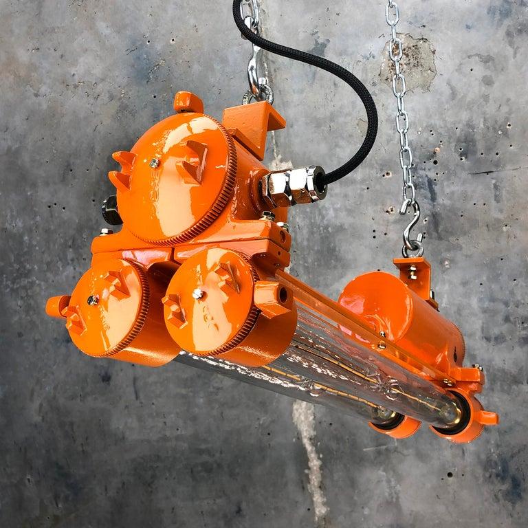 1970s Industrial Cast Aluminium and Brass Flame Proof Edison Striplight, Orange For Sale 5
