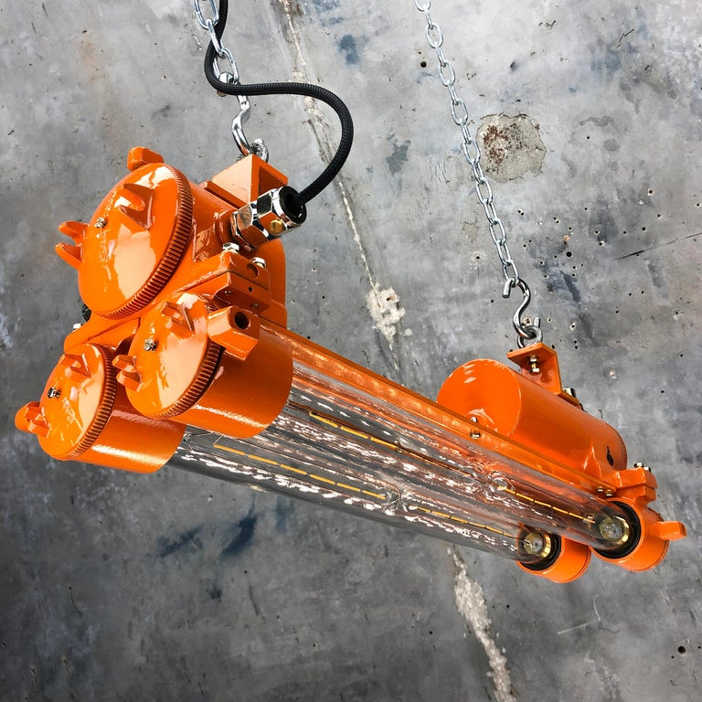 1970s Industrial Cast Aluminium and Brass Flame Proof Edison Striplight, Orange For Sale 6