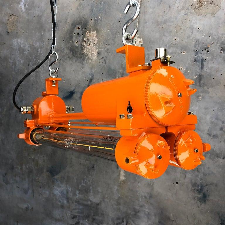 1970s Industrial Cast Aluminium and Brass Flame Proof Edison Striplight, Orange For Sale 7