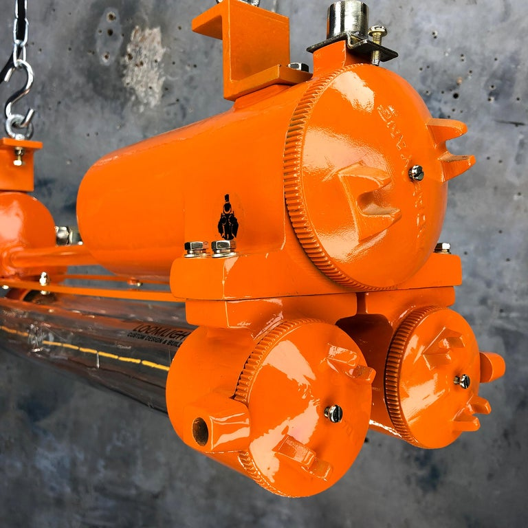 1970s Industrial Cast Aluminium and Brass Flame Proof Edison Striplight, Orange For Sale 8