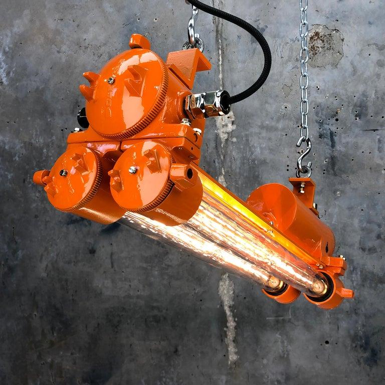 1970s Industrial Cast Aluminium and Brass Flame Proof Edison Striplight, Orange For Sale 9