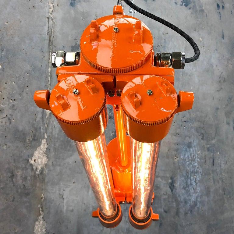 1970s Industrial Cast Aluminium and Brass Flame Proof Edison Striplight, Orange For Sale 11