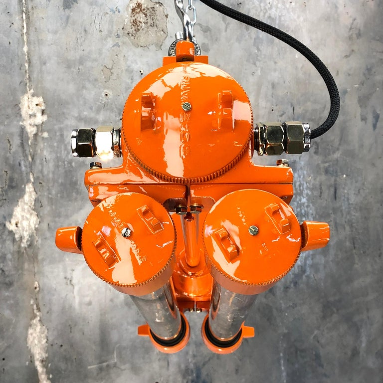 1970s Industrial Cast Aluminium and Brass Flame Proof Edison Striplight, Orange For Sale 13