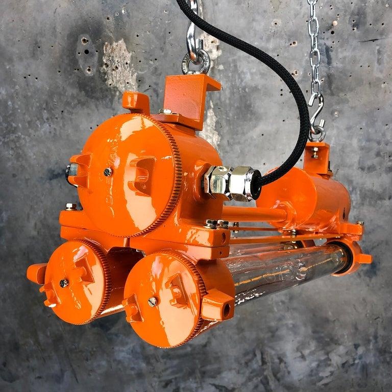 1970s Industrial Cast Aluminium and Brass Flame Proof Edison Striplight, Orange For Sale 14