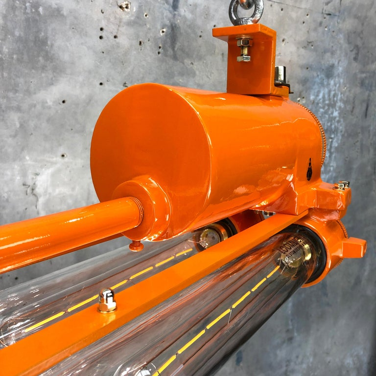 1970s Industrial Cast Aluminium and Brass Flame Proof Edison Striplight, Orange For Sale 2