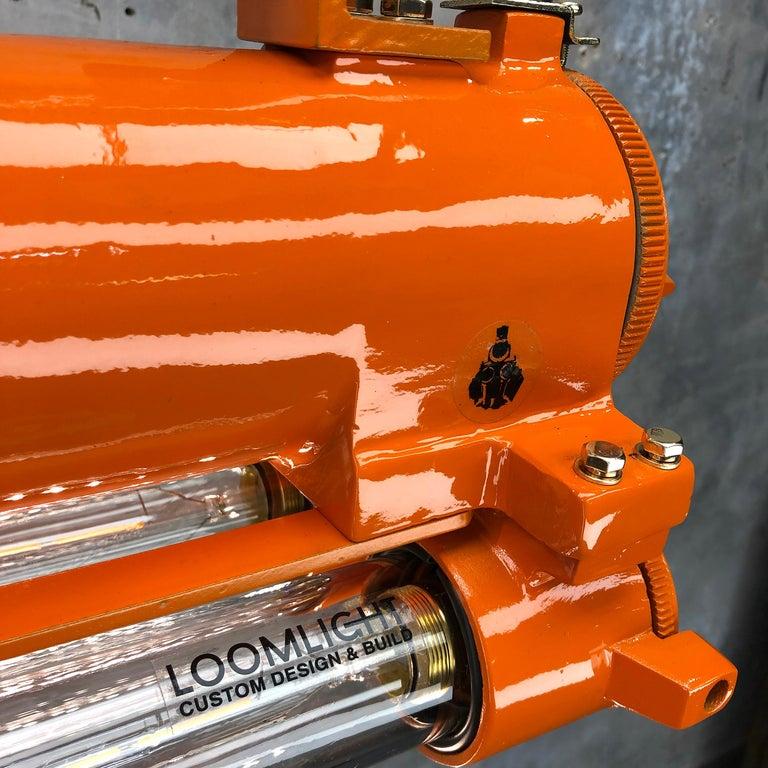 1970s Industrial Cast Aluminium and Brass Flame Proof Edison Striplight, Orange For Sale 3