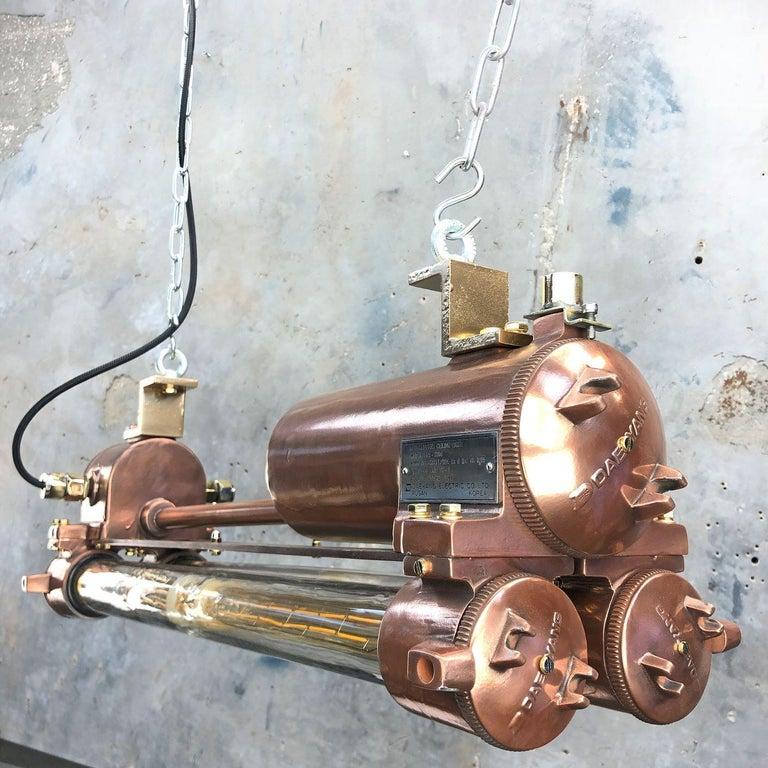 1970s Industrial Copper Flameproof LED Edison Tube Ceiling Strip Lighting For Sale 3