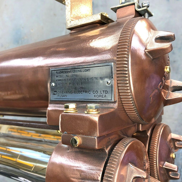 1970s Industrial Copper Flameproof LED Edison Tube Ceiling Strip Lighting For Sale 4