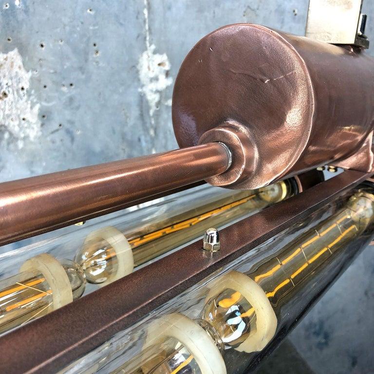 1970s Industrial Copper Flameproof LED Edison Tube Ceiling Strip Lighting For Sale 11