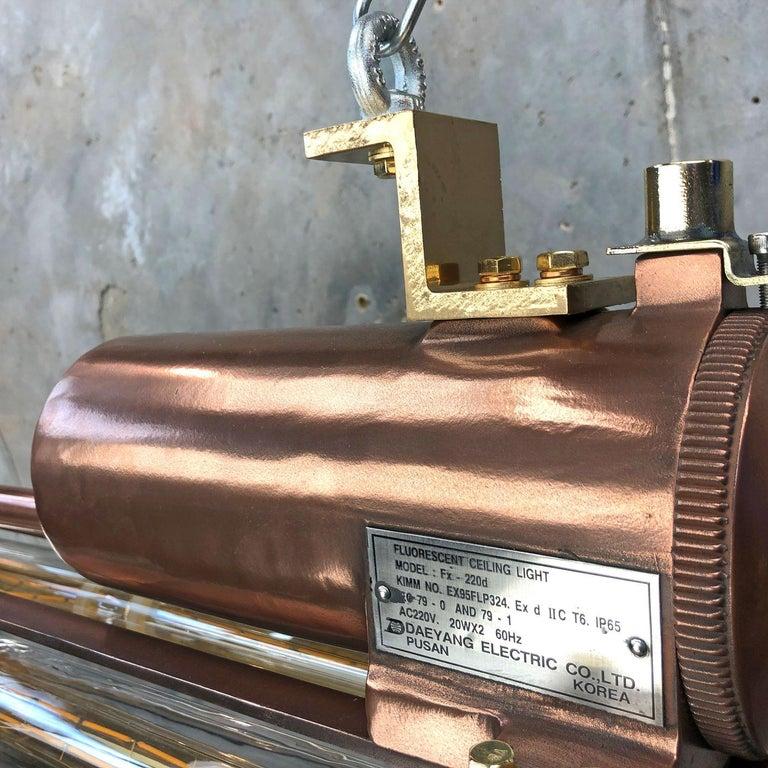 1970s Industrial Copper Flameproof LED Edison Tube Ceiling Strip Lighting For Sale 13