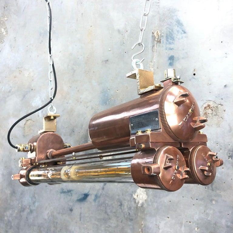 1970s Industrial Copper Flameproof LED Edison Tube Ceiling Strip Lighting For Sale 2