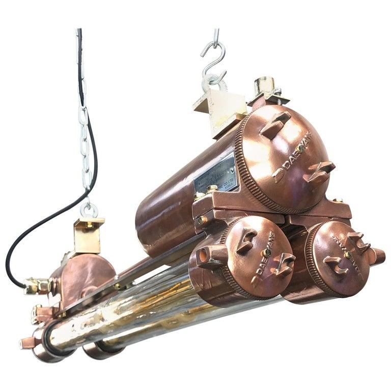 1970s Industrial Copper Flameproof LED Edison Tube Ceiling Strip Lighting For Sale