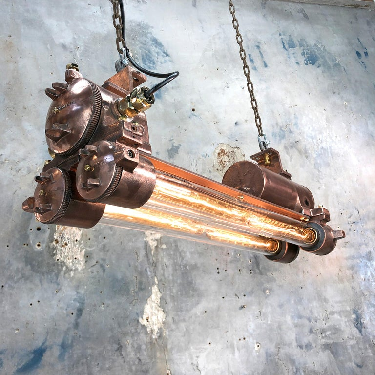 1970s Industrial Copper, Polished Brass and Glass Flameproof Edison Tube Light For Sale 3