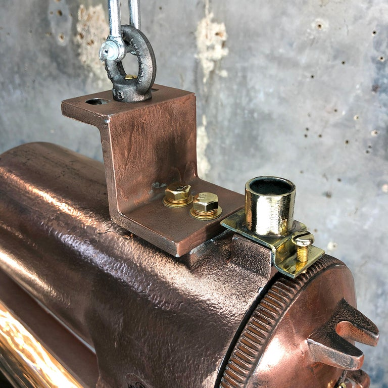 1970s Industrial Copper, Polished Brass and Glass Flameproof Edison Tube Light For Sale 7