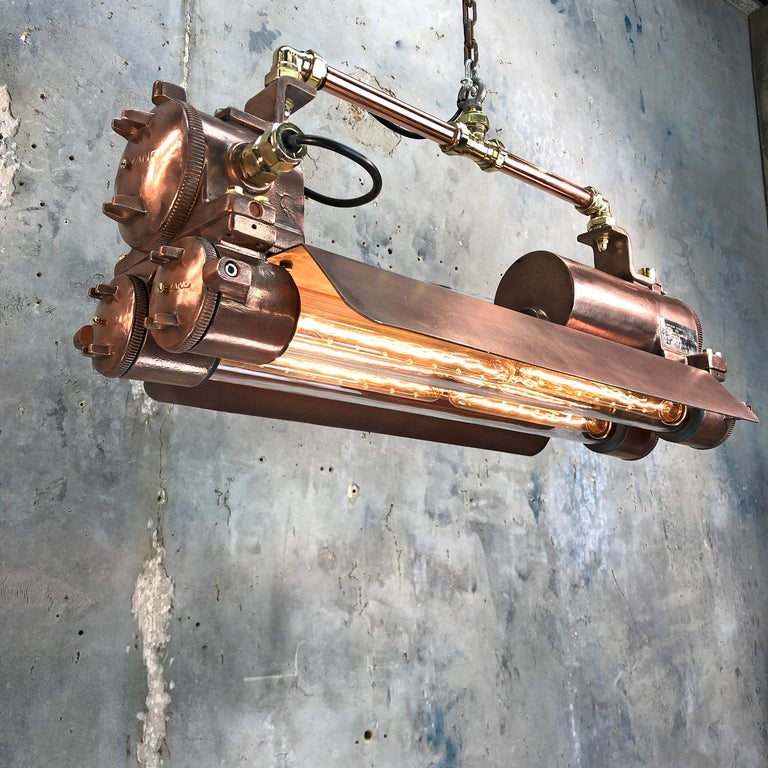 1970s Industrial Copper, Polished Brass & Glass Flameproof Tube Light with Shade For Sale 3