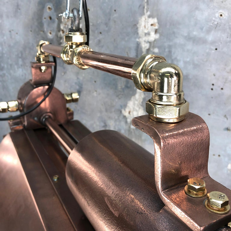 1970s Industrial Copper, Polished Brass & Glass Flameproof Tube Light with Shade For Sale 10