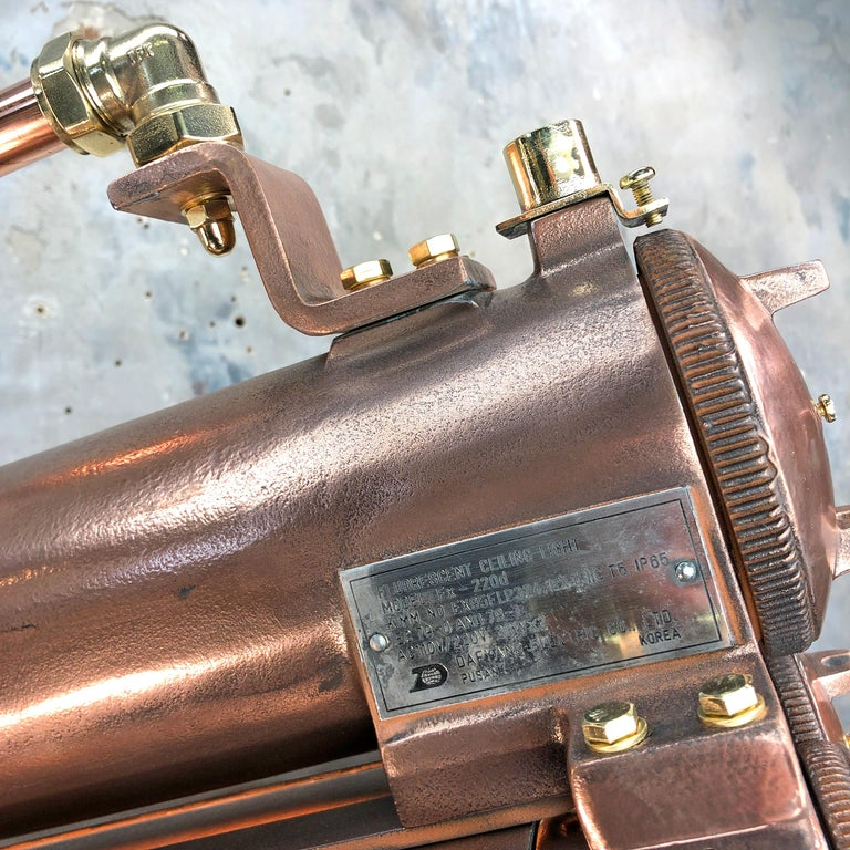 1970s Industrial Copper, Polished Brass & Glass Flameproof Tube Light with Shade For Sale 1