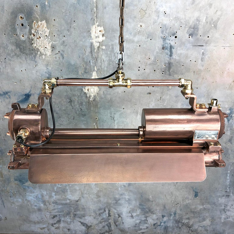 1970s Industrial Copper, Polished Brass & Glass Flameproof Tube Light with Shade For Sale 2