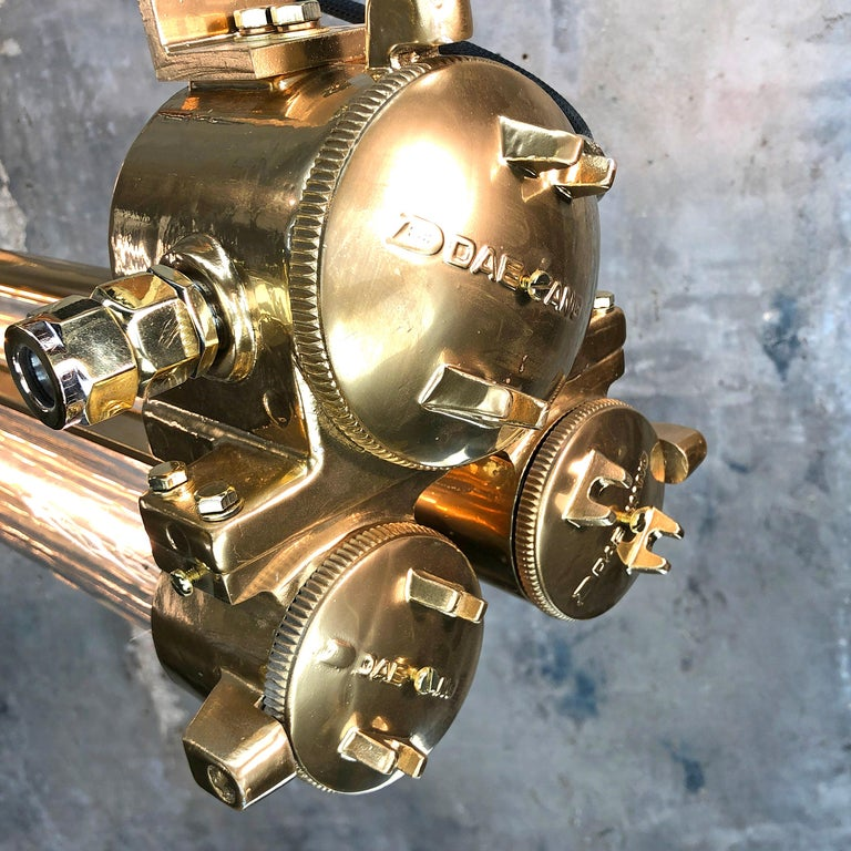 1970s Industrial Gold and Polished Brass and Glass Flameproof Edison Tube Light For Sale 7