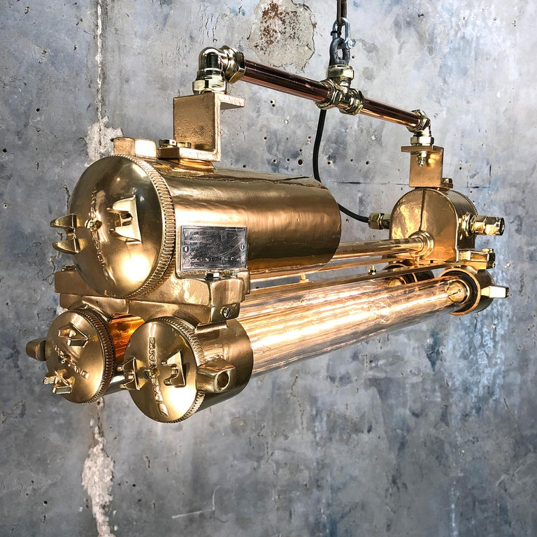 1970s Industrial Gold and Polished Brass and Glass Flameproof Edison Tube Light For Sale 2