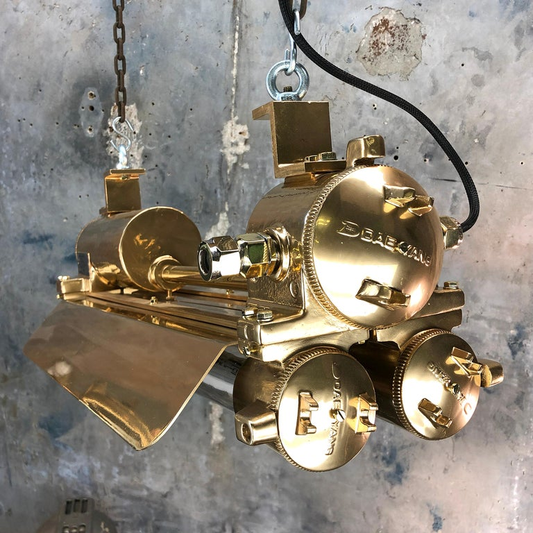 1970s Industrial Gold, Polished Brass Flameproof Strip Light with Glass Shades For Sale 3