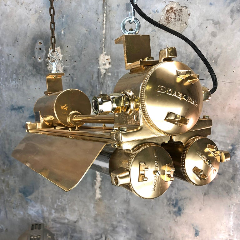 1970s Industrial Gold, Polished Brass Flameproof Strip Light with Glass Shades For Sale 4