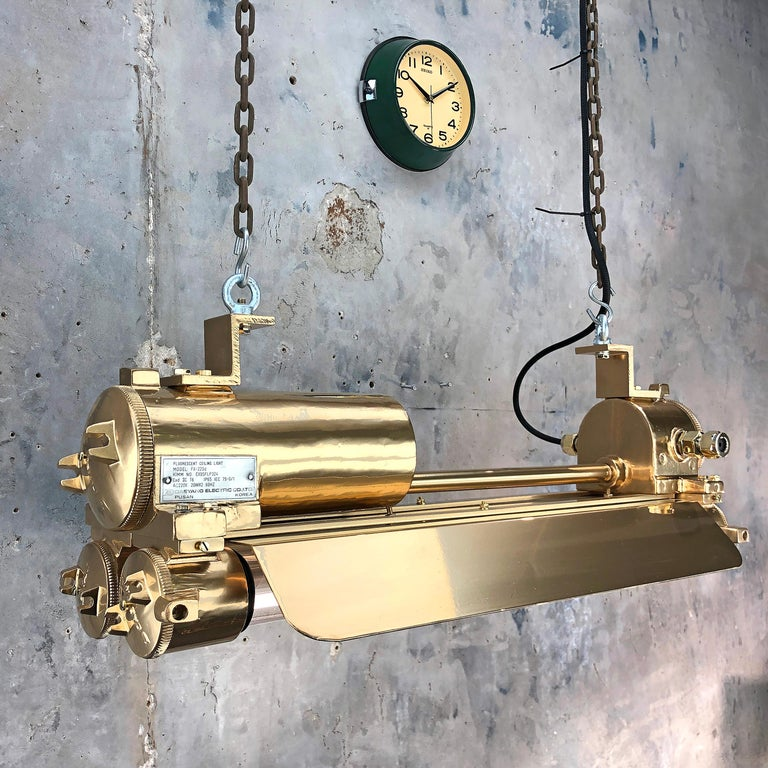 1970s Industrial Gold, Polished Brass Flameproof Strip Light with Glass Shades For Sale 13