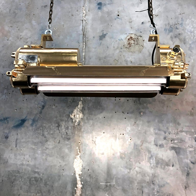 1970s Industrial Gold, Polished Brass Flameproof Strip Light with Glass Shades In Good Condition For Sale In Leicester, Leicestershire