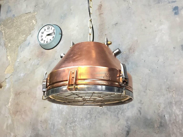 1970s Industrial VEB German Copper & Aluminium Pendant Lamp Cage & Glass lens In Good Condition In Leicester, Leicestershire