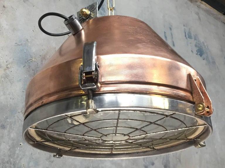 Late 20th Century 1970s Industrial VEB German Copper & Aluminium Pendant Lamp Cage & Glass lens