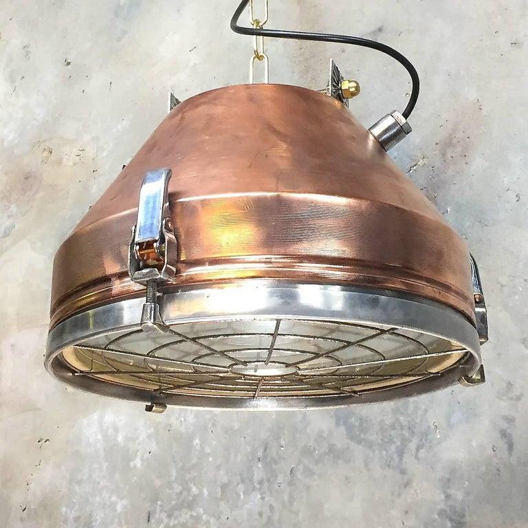 Aluminum 1970s Industrial VEB German Copper & Aluminium Pendant Lamp Cage & Glass lens