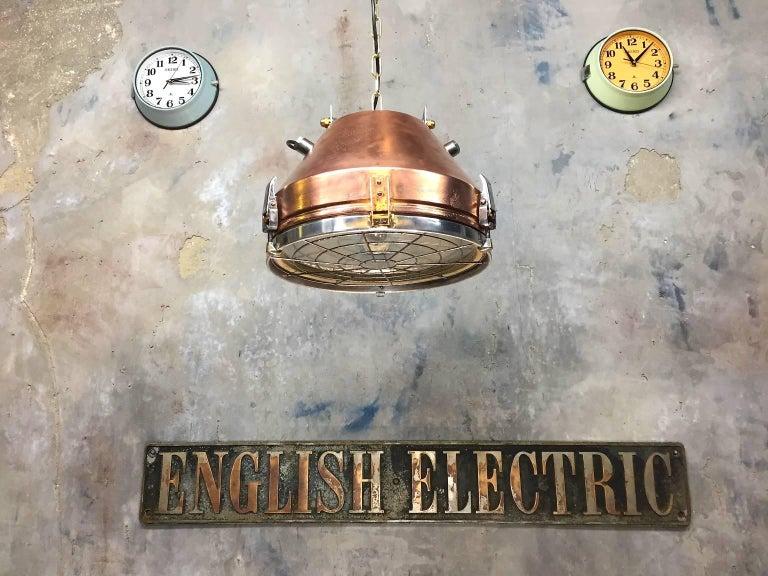 1970s Industrial VEB German Copper & Aluminium Pendant Lamp Cage & Glass lens 2