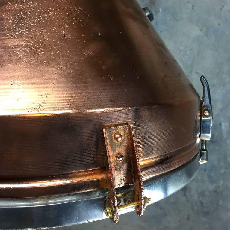 1970s Industrial VEB German Copper & Aluminium Pendant Lamp Cage & Glass lens 3